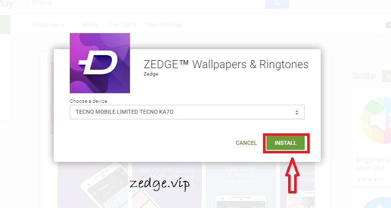 Install Zedge App from PC to Android device via Google Play Store